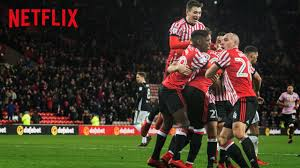 An advert for the second season of 'Sunderland Till I Die' shows a group of Sunderland players celebrating the scoring of a goal as the crowd celebrate in the background