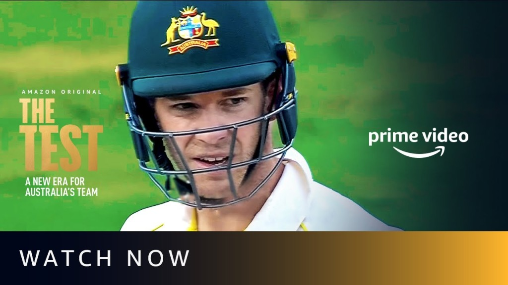 This poster from Amazon Prime Video shows new Australian skipper Tim Payne with a batting helmet on. He must help his side restore their reputation after a cheating scandal decimated the national side.